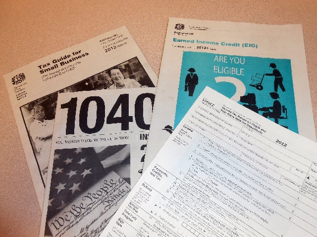 Tax preparation forms are seen at the Summerlin Library, 1771 Inner Circle Drive.