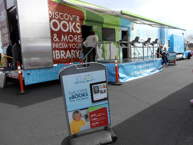 The Digital Bookmobile stopped March 25 at the Summerlin Library, 1771 Inner Circle Drive, as part of a national tour. The exhibit, the size of an 18-wheeler, shows library patrons how to use elec ...