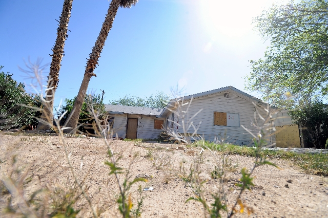 A general view of an unoccupied home is seen March 29 at 3200 Bluebird St. in Las Vegas. There are an estimated 40,481 vacant single-family homes in the Las Vegas Valley, data show.