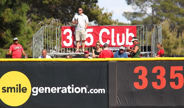 Fans in the 335 club watch UNLV play Air Force during their third game at Wilson Stadium in Las Vegas on Sunday.