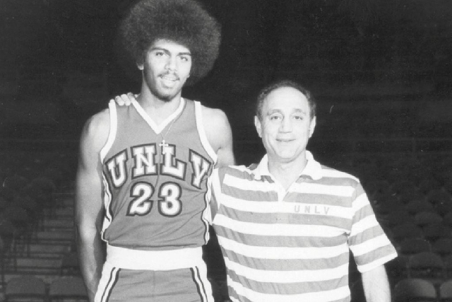 In an undated photo, UNLV basketball coach Jerry Tarkanian, right, is shown with Reggie Theus, who starred for the Rebels from 1975 to 1978.