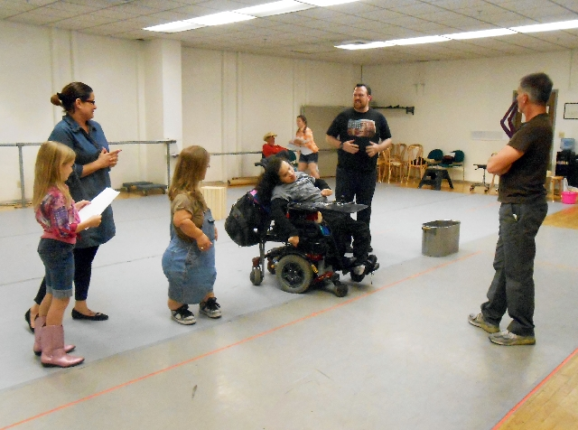 """Co-director Rick Pessagno, right, works with the cast of the Las Vegas Shakespeare Company's """"Charlotte's Web."""" The musical is scheduled to open April 19 at the Henderson P ..."""