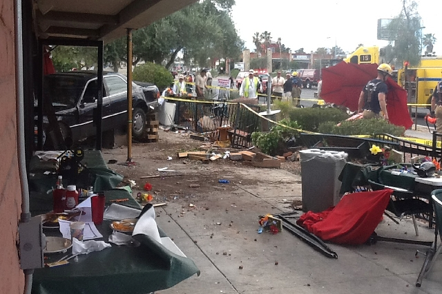 Ten people were hurt Monday when a person crashed a car into the Egg & I restaurant, 4533 W. Sahara Ave.