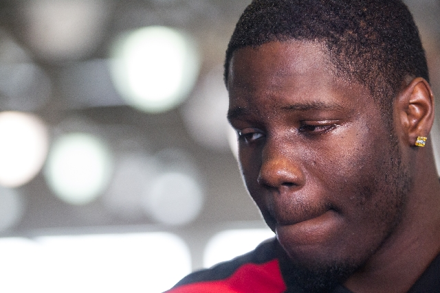 UNLV freshman forward Anthony Bennett shows the emotional strain of his decision to leave the Rebels after one season to make himself eligible for the NBA Draft on June 27.