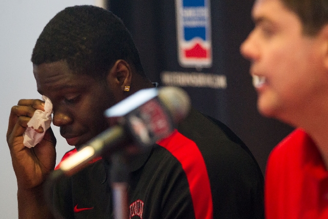 UNLV freshman forward Anthony Bennett wipes a tear as coach Dave Rice speaks about Bennett's decision to leave the Rebels to enter the NBA Draft on Monday at the Mendenhall Center on campus.