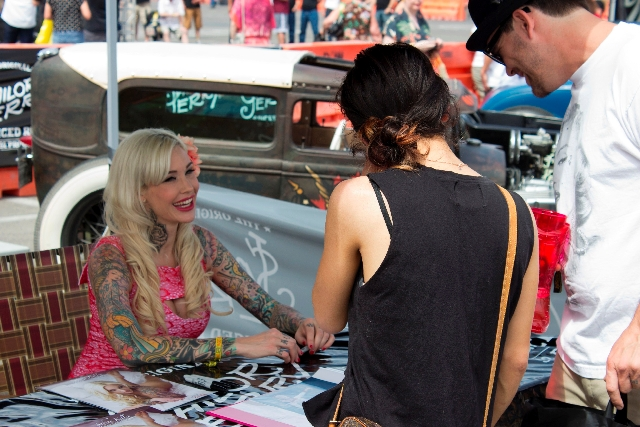"""Sabina Kelley, the pin-up model and judge on Oxygen's """"Best Ink,"""" met fans Saturday at The Orleans' rockabilly """"Viva Las Vegas."""""""