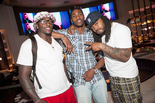 NFLer Mikel Leshoure celebrated his birthday by eating with NFL buddies Martez Wilson and Terry Hawthorne on Saturday at Heraea in the Palms.