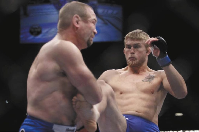 Swedish light heavyweight Alexander Gustafsson, right, lands a kick to Vladimir Matyushenko during an Ultimate Fighting Championship bout on Dec. 30, 2011, in Las Vegas. Gustafsson suffered a seve ...