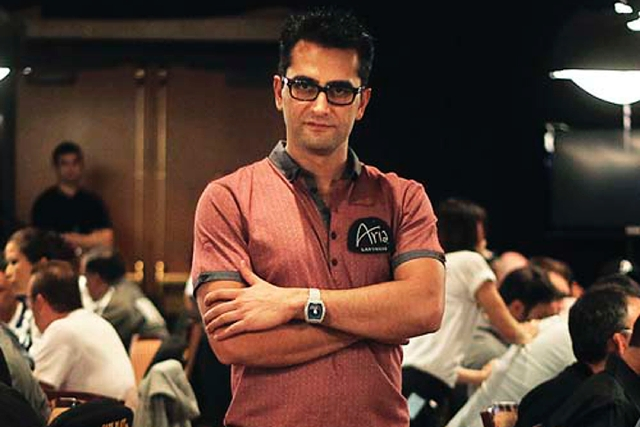Recent World Series of Poker One Drop tournament champion Antonio Esfandiari poses for a portrait while wearing his winner's bracelet during the opening day of the WSOP Main Event at the Rio ...
