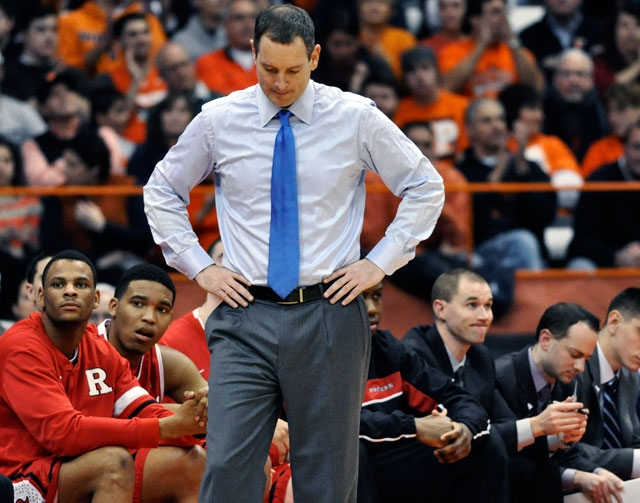 In this Jan. 2 file photo, Rutgers head coach Mike Rice reacts after Syracuse scored late in the second half of an NCAA college basketball game in Syracuse, N.Y. Rutgers has fired Rice after a vid ...