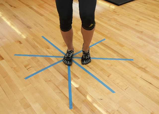 Compass reach, START: Place one foot in the middle of the compass. Hinge at the hips and allow the knee to bend while keeping the back straight. Keep the knee in line with the foot and the hip.