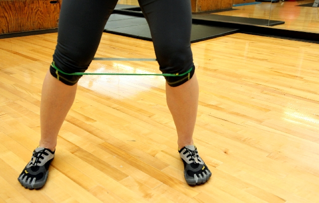 Tube walking, ACTION: Step to the side with one foot so the band stretches. Then step the same direction with the other foot.Repeat for 10 to 15 steps on each side. The main form flaw to be  ...