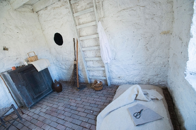 Slave quarters on the grounds of Stratford Hall Plantation, thought to have been originally built in the late 18th century, have been reconstructed. More than 200 slaves and indentured servants li ...
