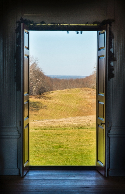 Rolling fields and forest lead a mile to the Potomac River in this view from Stratford Hall Plantation in the Northern Neck of Virginia.
