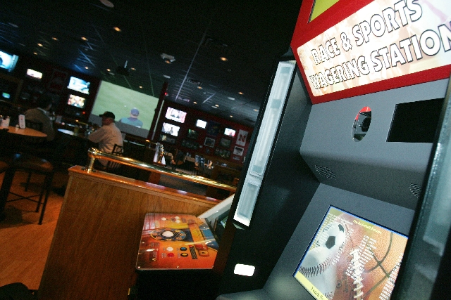 The Leroy's Race & Sports Wagering Station is seen at The Stadium Grille in Henderson. The kiosk has since been rebranded with the William Hill name. The Nevada Resort Association wants stat ...