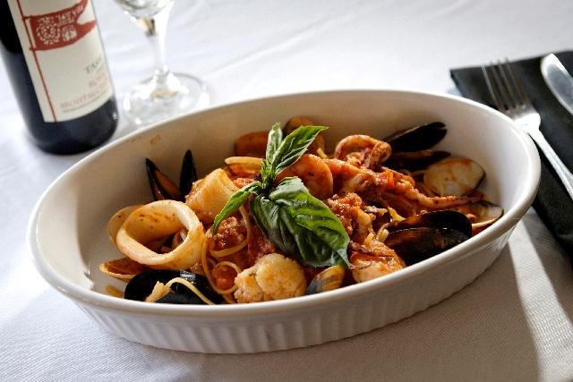 Seafood linguine is seen at Gina's Bistro, 4226 S. Durango Drive.
