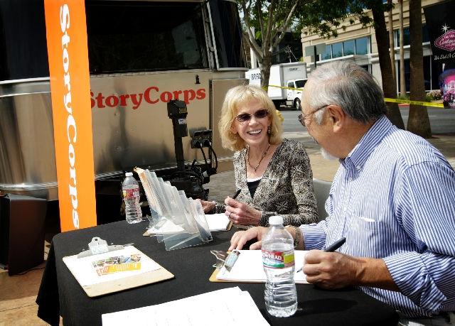 Joyce Nakashima, left, talks with her husband, Alan Nakashima, both of Las Vegas, before interviewing him in StoryCorps' mobile studio. Alan Nakashima told the story of how, during World War ...