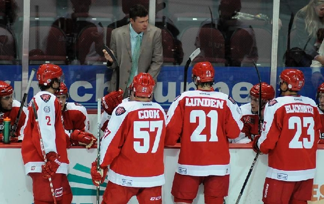 Ryan Mougenel, shown coaching the Wranglers this season at Orleans Arena, led the team to a 151-111-26 record in four years.