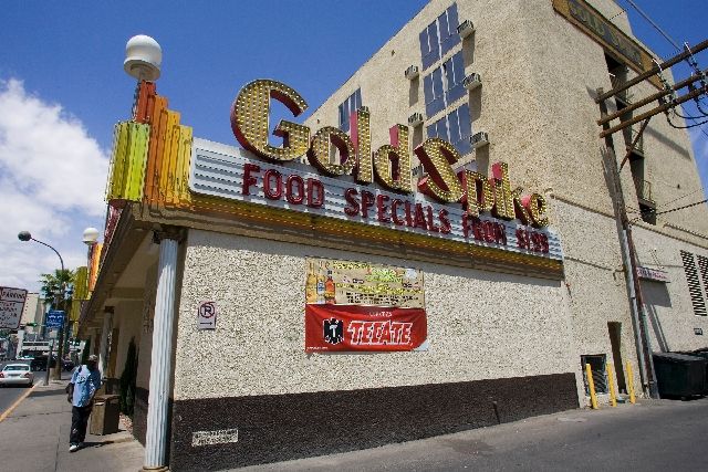 The Gold Spike in downtown Las Vegas is seen May 3, 2007. With the addition of a lending note on the Gold Spike and a pending deal for the Mayan Plaza apartments on Alta Drive the portfolio contro ...