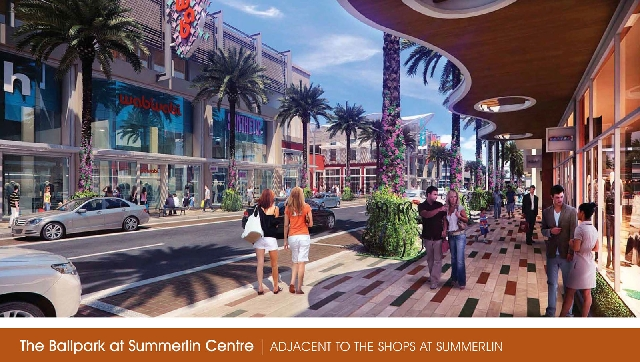 """The proposal has been dubbed """"The Ballpark at Summerlin Centre"""" and a mini-urban village is planned around the venue, as depicted in this rendering."""
