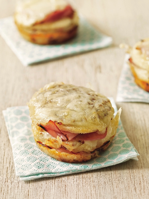 This Westphalian ham and Gruyere grilled cheese was made in a cupcake pan.