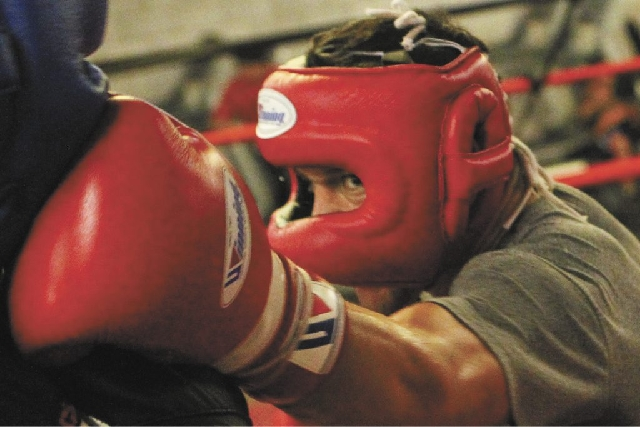 """Diego Magdaleno, right, spars with Donte Strayhorn in advance of  his fight today in Macau against WBO super featherweight champion Roman """"Rocky"""" Martinez. Magdaleno, 26, is 23-0 with  ..."""