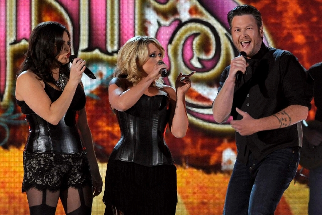 Angaleena Presley and Miranda Lambert of the Pistol Annies join Blake Shelton for a song during the 48th Academy of Country Music Awards at the MGM Grand Garden in Las Vegas on Sunday.