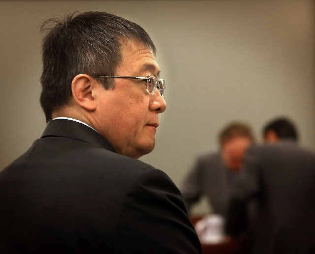 Hong Kong businessman Richard Suen stands for jury arrival on Monday at Clark County Regional Justice Center.