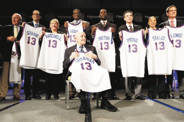 Former UNLV coach Jerry Tarkanian sits in front of fellow inductees during the Naismith Memorial Basketball Hall of Fame class announcement Monday in Atlanta.