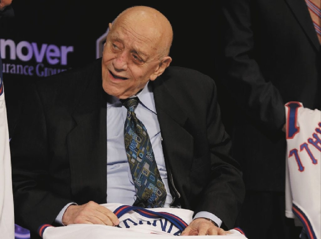 Former UNLV coach Jerry Tarkanian smiles during the announcement of the 12-member induction class for the Naismith Basketball Hall of Fame on Monday in Atlanta.
