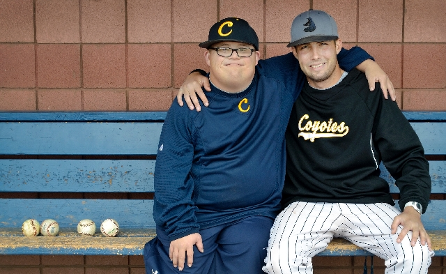 College of Southern Nevada baseball team manager Matt Cutler, left, and assistant coach Sean Larimer have been friends since they were students at Green Valley High School in 2003. Las Vegas Revie ...