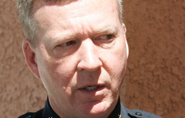 Boulder City Police Chief Thomas Finn speaks to the media in Boulder City in this 2009 file photo. Clark County District Attorney Steve Wolfson determined that Finn did not commit a crime by direc ...
