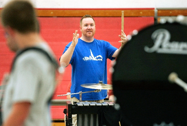 Brian Howerton directs the Vegas Vanguard Percussion at UNLV on April 12. The team won the silver medal at the World Championships in Dayton, Ohio, on Friday.
