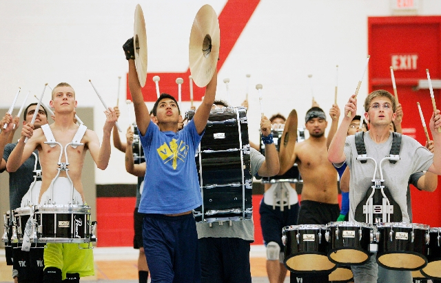 Vegas Vanguard Percussion drumline practice at UNLV Friday, April 12.. The indoor drumline team plans to compete at the Percussion World Championships next week in Dayton, Ohio. The team placed th ...