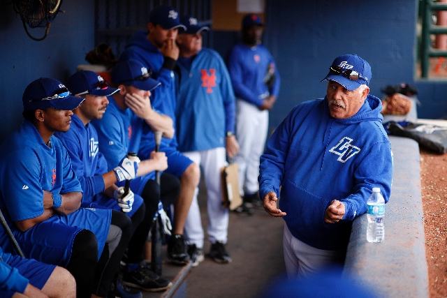 "51s manager Wally Backman addresses his team Tuesday before Las Vegas' 2-1 loss to Sacramento at Cashman Field. ""I love playing for him. He wants what's best for the players,&rdq ..."