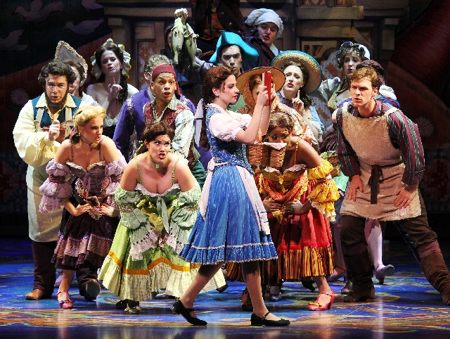 """Hilary Maiberger plays the role of """"Belle"""" in the production of """"Beauty and the Beast"""" on Tuesday at The Smith Center for the Performing Arts."""