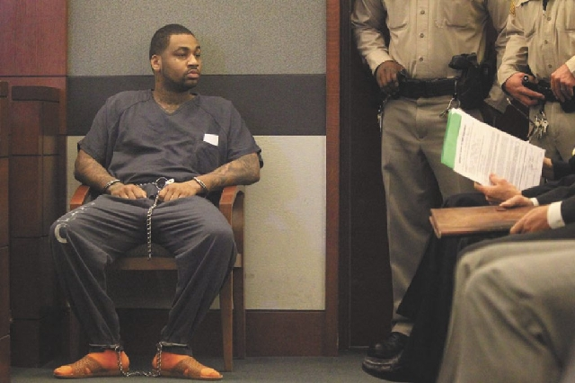 "Ammar Harris makes his first appearance Wednesday in Clark County Justice Court. Harris, 27, is accused of shooting and killing Kenneth ""Kenny Clutch"" Cherry Jr. on Feb. 21 as the two  ..."