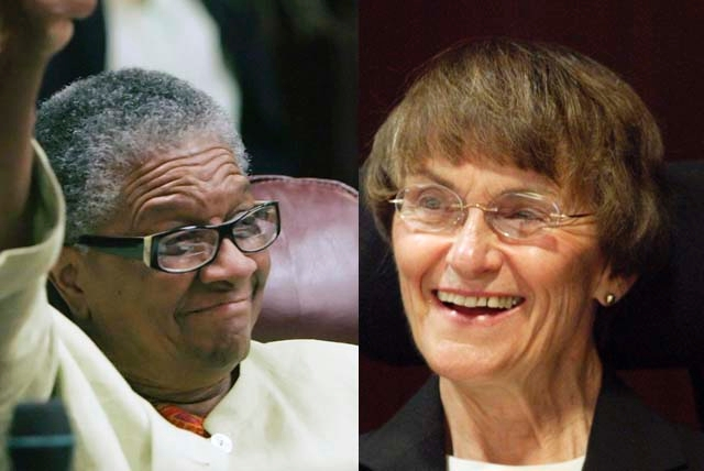 Bernice Mathews, left, and Sue Wagner were inducted Wednesday into the Nevada Senate Hall of Fame. Mathews became the first black woman to serve in the Senate when she was elected in 1994. Wagner  ...