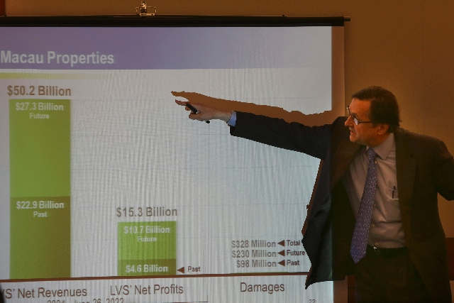 Walter Bratic, a Houston-based accounting expert, speaks Wednesday about the Macau profit potential of Las Vegas Sands Inc. in Clark County Regional Justice Center in Las Vegas. Hong Kong business ...