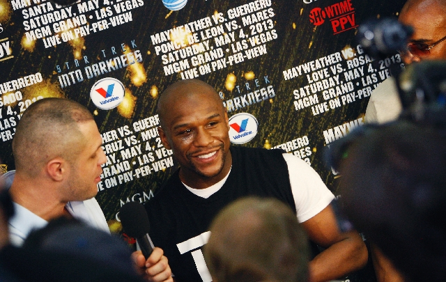 Floyd Mayweather Jr. speaks to the press in preparation for his upcoming fight against Robert Guerrero.