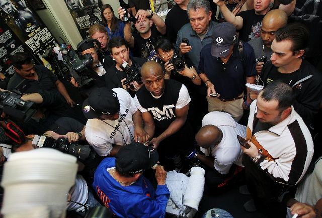 Floyd Mayweather Jr. is the center of attention on April 17 at Mayweather Boxing Club. He will defend his WBC welterweight title Saturday against Robert Guerrero at the MGM Grand Garden, part of a ...