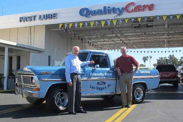 Friendly Ford Chairman Ed Olliges, left, and service director Greg Haase, are helping the dealership celebrate its 43rd anniversary this month.