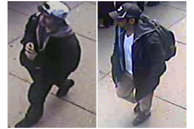 This combination of images released by the FBI on Thursday show two images taken from surveillance video of who the FBI are calling suspect number 2, left, in white cap, and suspect number 1, righ ...