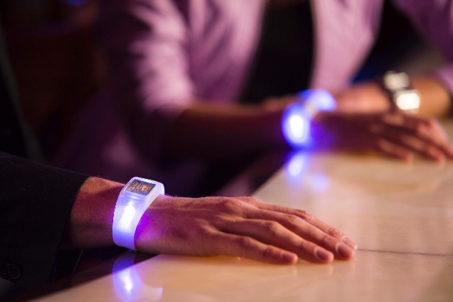This photo of the Cloudsona wristbands was taken in March at Blue Martini. Cloudsona is launching a Kickstarter campaign in an effort to raise around $88,000 to fund a personal version of its comm ...