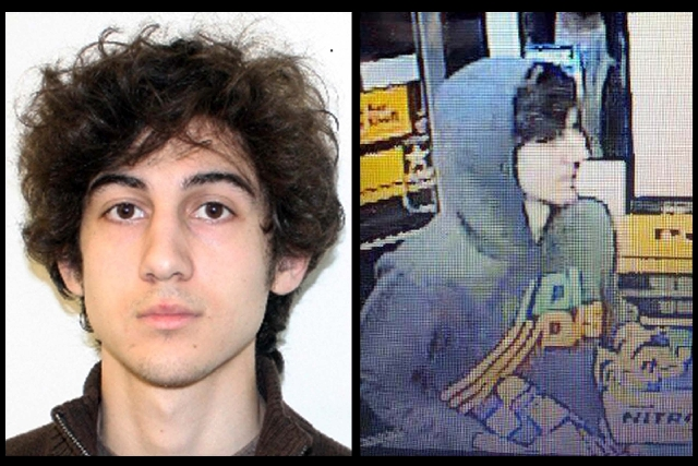 This combination of photos provided on Friday by the Federal Bureau of Investigation, left, and the Boston Regional Intelligence Center, right, shows a suspect that officials have identified as Dz ...