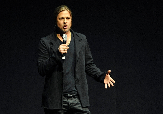 """Brad Pitt, a cast member in the forthcoming film """"World War Z,"""" introduces a clip from the movie Tuesday at CinemaCon 2013's Opening Night Presentation from Paramount Pictures at Caesars Palace."""