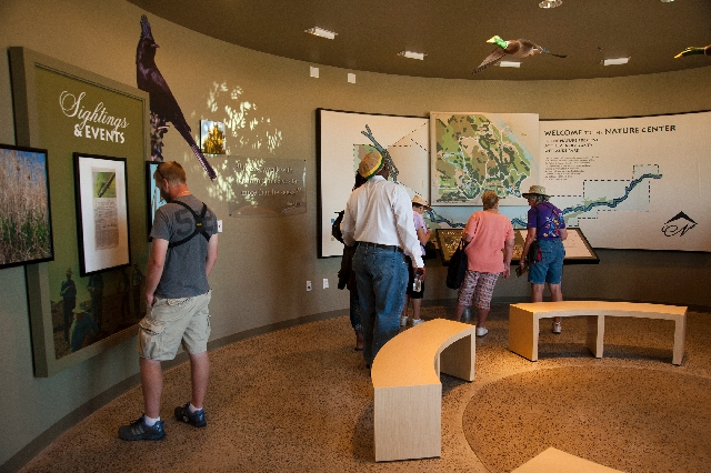 Visitors get a look at the new exhibits during the grand opening and dedication of the new Nature Center at the Clark County Wetlands Park on Saturday. The 45,000-square-foot complex also features ...