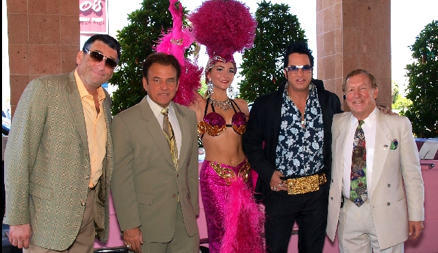 Robert Nash as Robert De Niro, from left, Tony Sacca, Danae DiGiulio, the Rev. Jesse Garon as Elvis and Denny Weddle at the Nevada Opera Theatre party