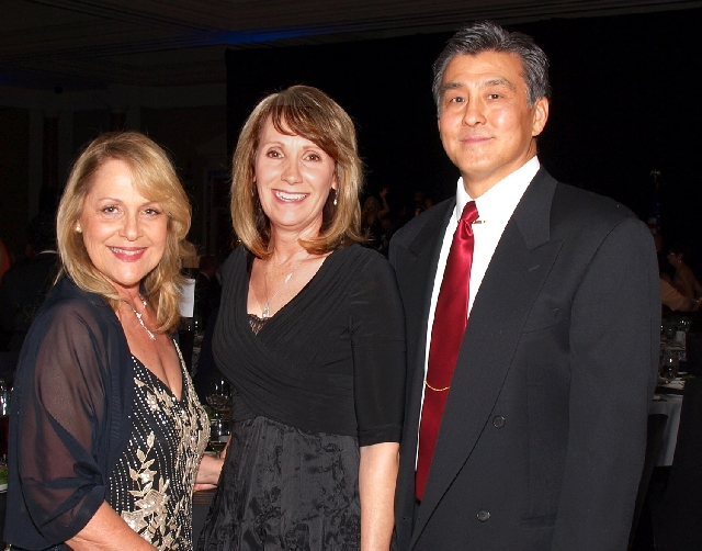 Karen Walsh, from left, and Crystal and George Momii at the Chefs for Kids gala