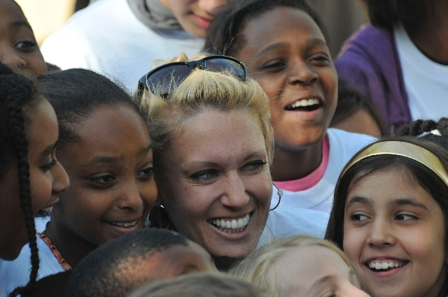 Ladies Professional Golf Association Tour professional Natalie Gulbis meets some of the more than 200 members at the April 9 dedication of the Natalie Gulbis Boys & Girls Club in the Apache Pines  ...